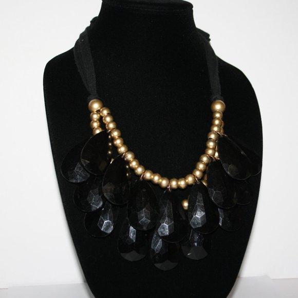 Black and gold oversized bib necklace gems